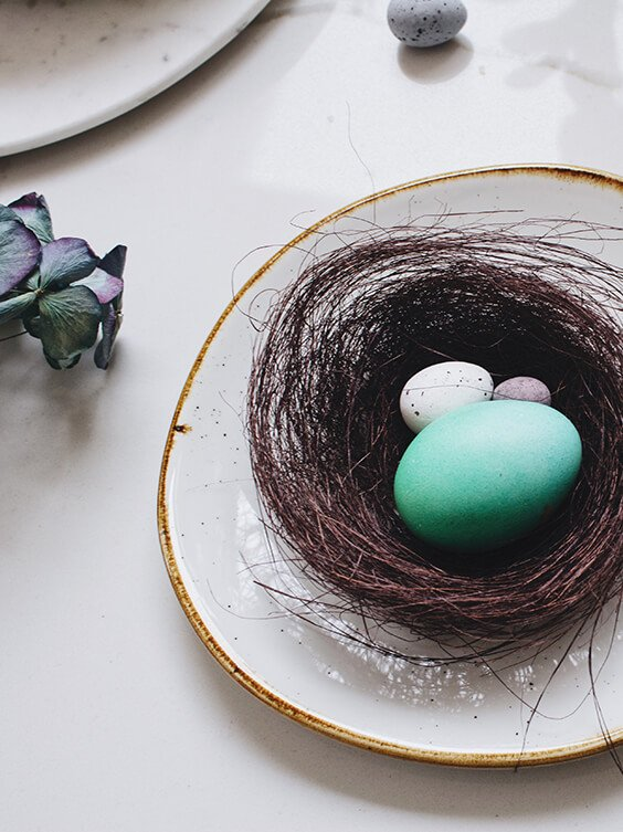 easter decoration with blue eggs and a nest