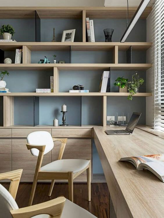 wooden workspace and storage solutions