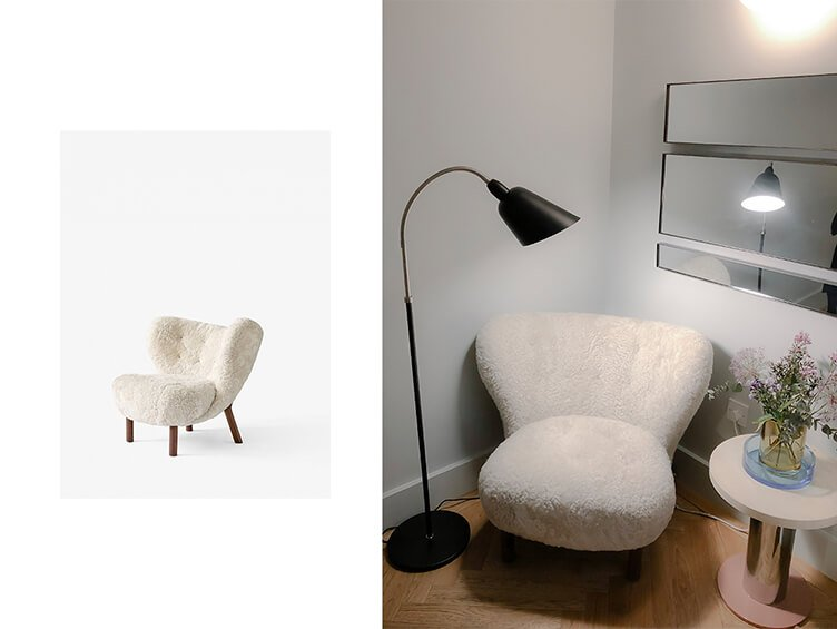 Super comfortable white chair Little Petra by Viggo Boesen