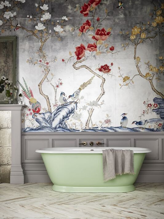 Luxurious wallpapers in the bathroom with green free standing bath
