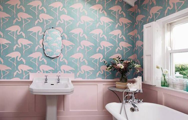 artistic wallpaper with pink flamingos in the bathroom