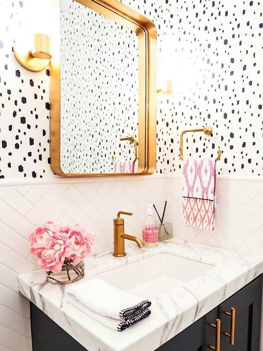 playful white polkadots wallpapers in the bathroom