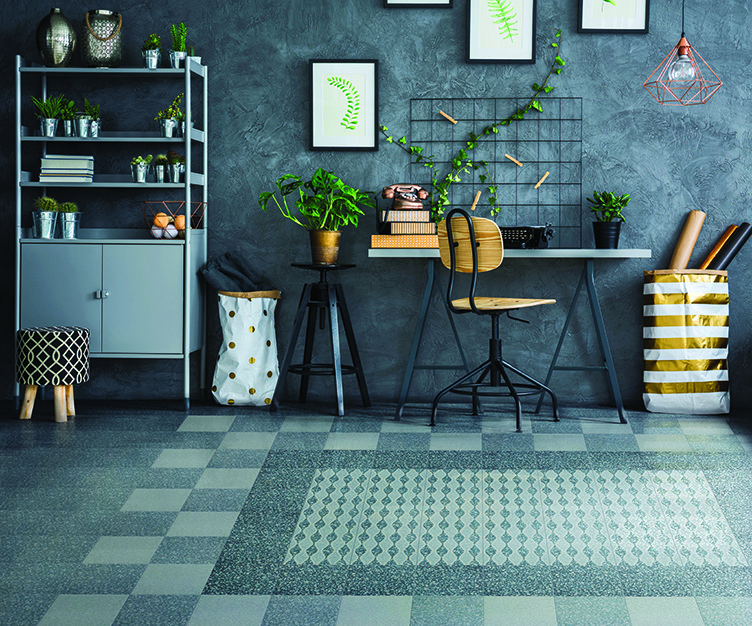 bright inteior design with Bordeaux terrazzo floor by Waxman ceramics