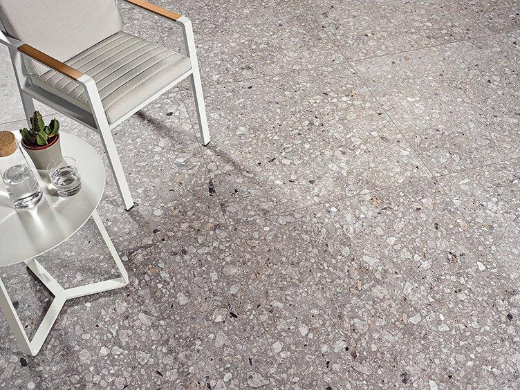 Canyon terrazzo tile flooring by Waxman ceramics