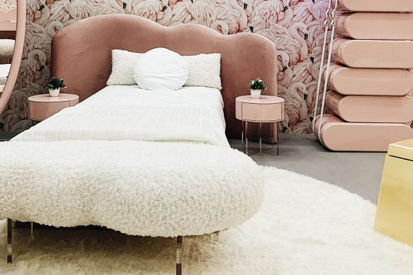 chick and playful interior design with pink flamingo wallpaper, pink mirror, pinkbed spotted by Temza In Milano 2019