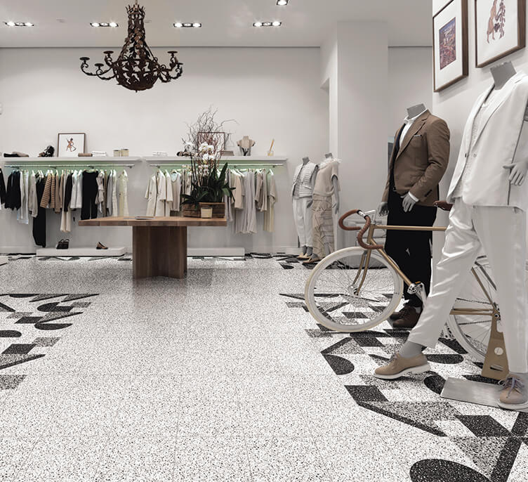 commercial inteior design for elegant showroom with traditional terrazzo floor