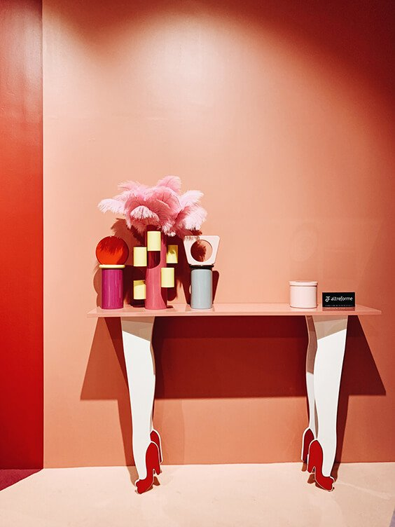 girly pink retro coffe table spotted by temza at milano design week 2019