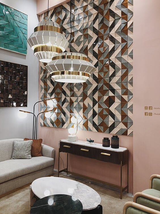 geometry patterns in interiors spotted by Temza design studio at milano design week 2019