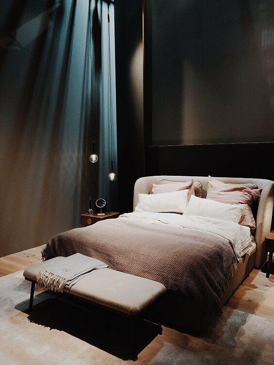cosy interior design for luxury blue and neutral bedroom spotted by Temza at Milano Design Week 2019