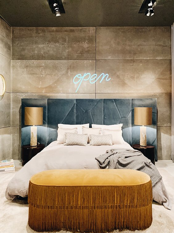 cosy interior design for luxury blue, gold and neutral bedroom spotted by Temza at Milano Design Week 2019