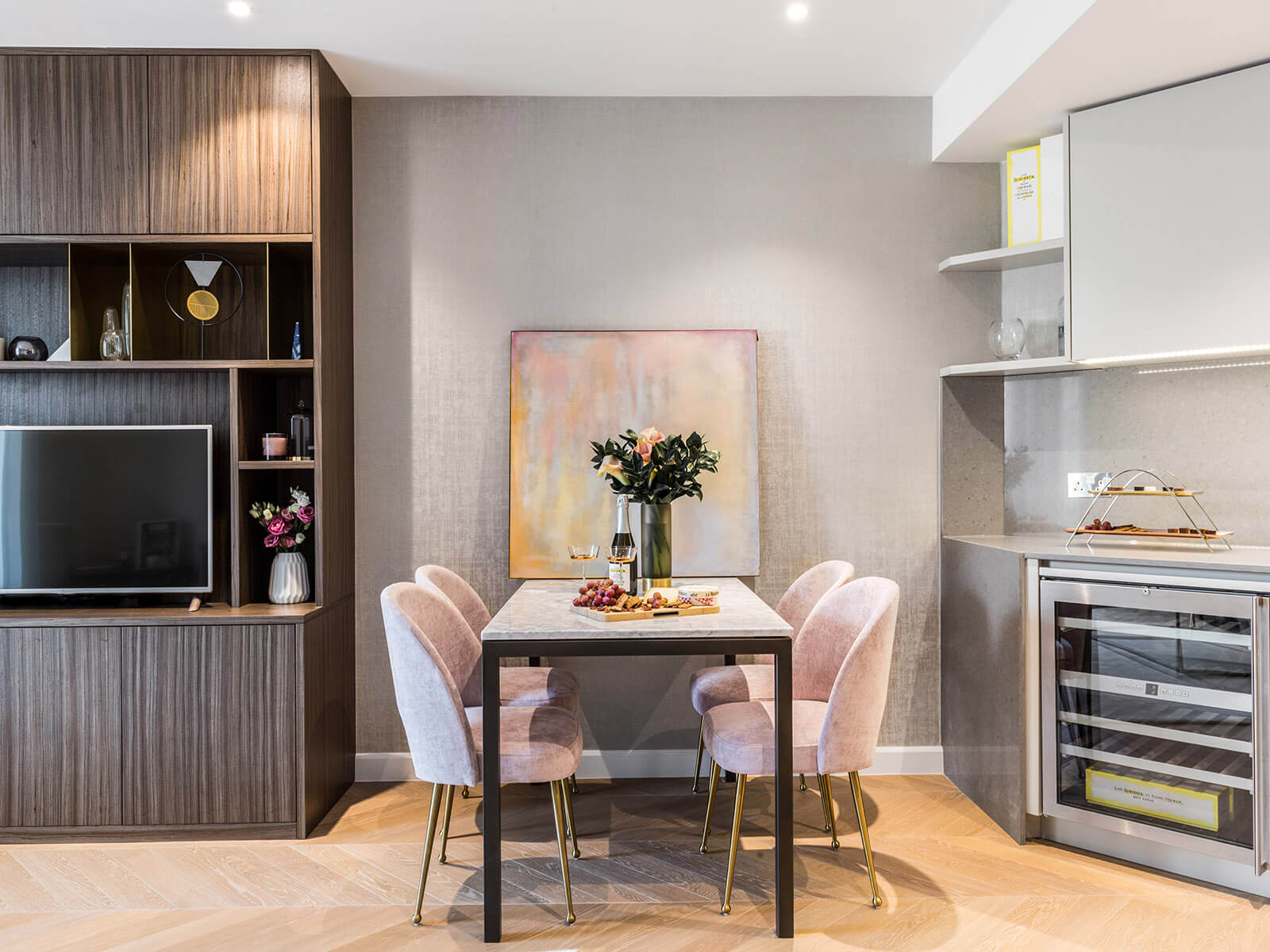 residential interior design for light and spacious kitchen with small dining area in apartment in Westminster, London