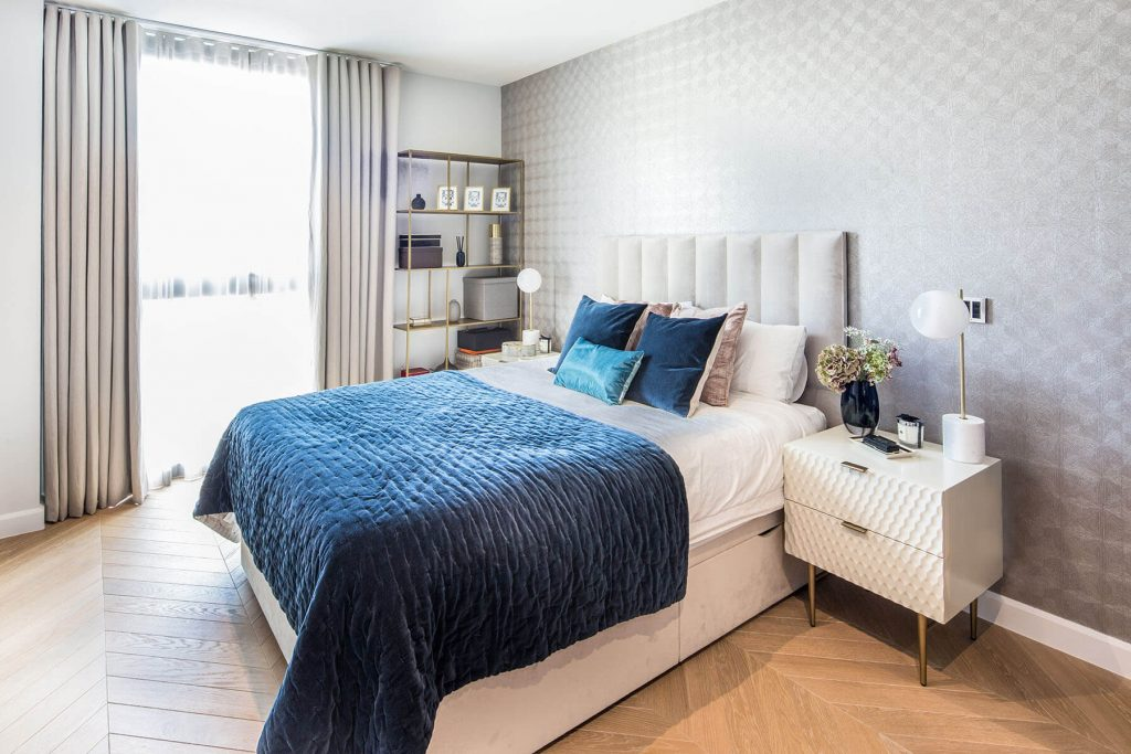 luxury yet elegant interior design for a bedroom with high-end furniture and accessories in Westminster, London