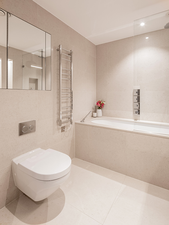 residential interior design of the bathroom in Westminster, London