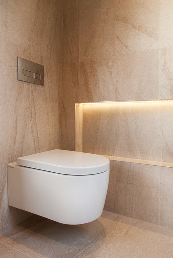 interior design for light bathroom in warm colour with recessed lighting
