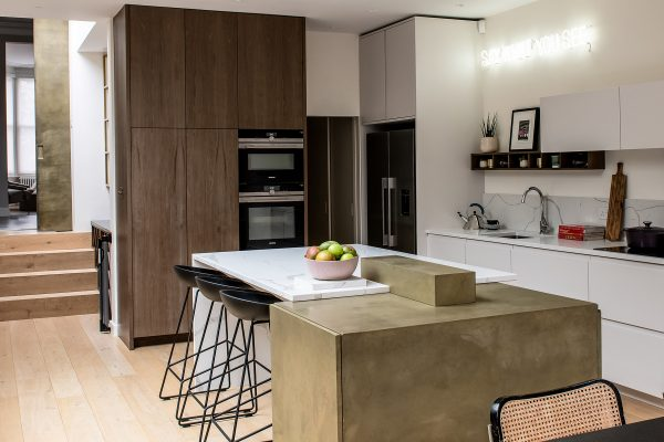 residential interior design, house renovation with rear extension for grand and spacious kitchen with dining area, bespoke kitchen cabinets, Brockley, London