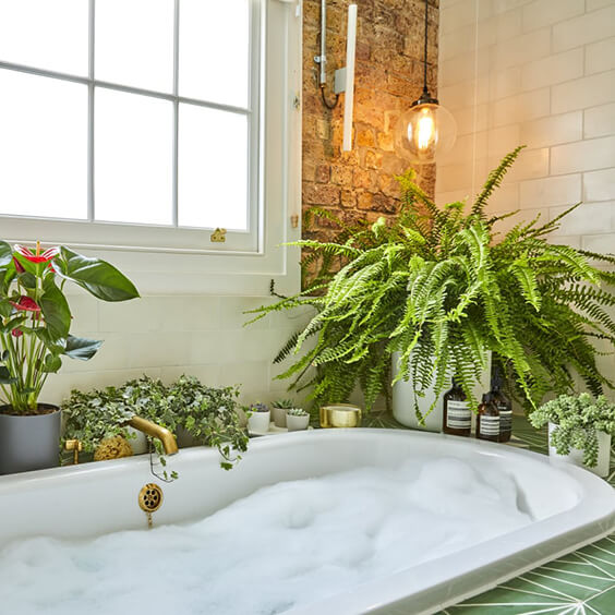 interior design for a dreamy bathroom with lots of plants
