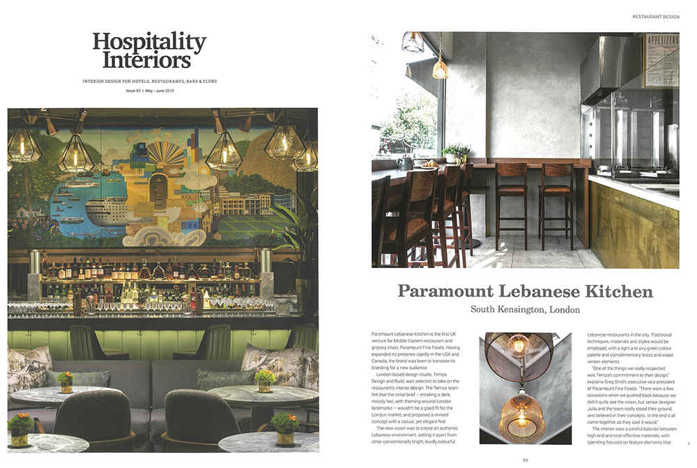 completed Paramount Lebanese Kitchen restaurant fit-out, London