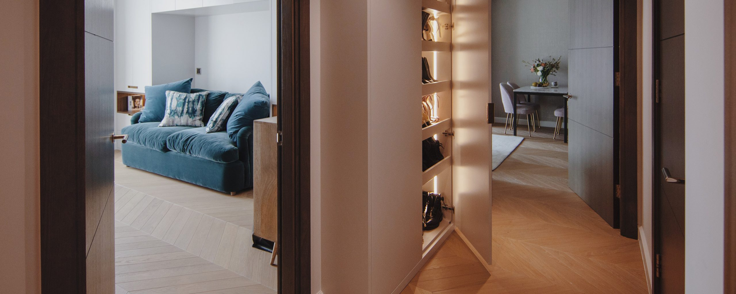 residential interior design in westminster, London- hallway with storage for shoes