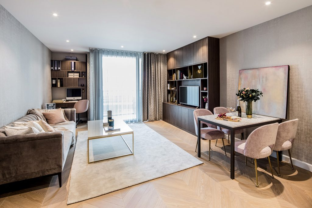 residential interior design for openplan kitchen and reception room with bespoke joinery, designer furniture and fancy accessories in Westminster, London