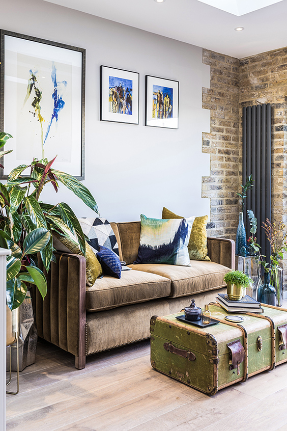 residential interior design for spacious living room with designers furniture and unique accessories, Shepherd's Bush, London