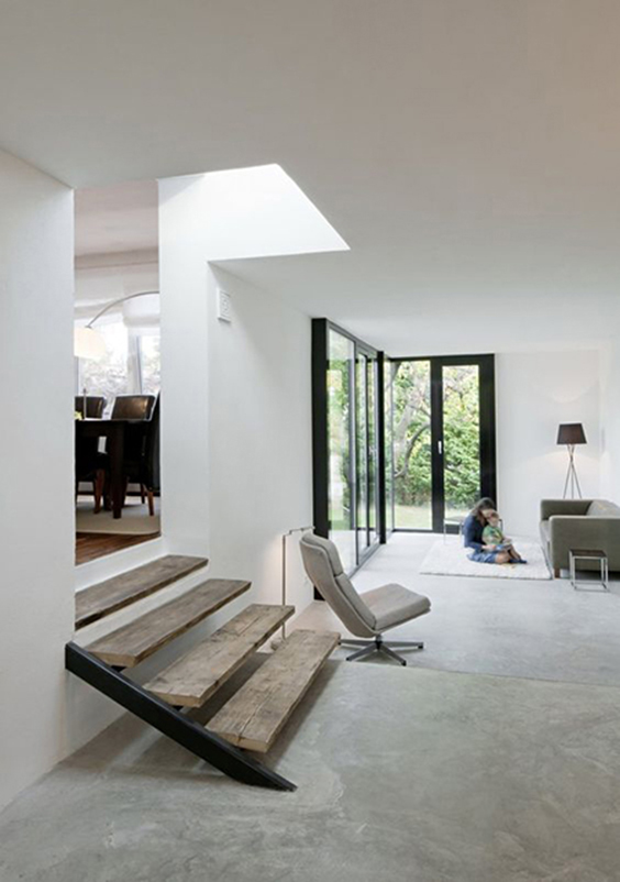 interior design renovation-polished flooring -living room