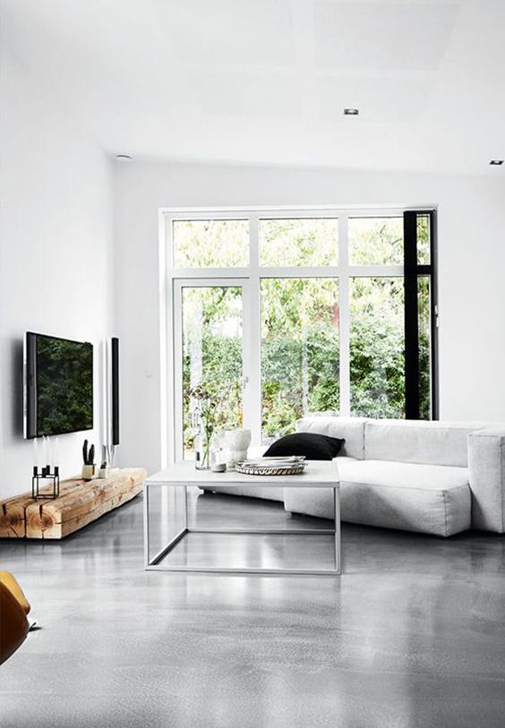 interior design renovation-polished flooring - living room