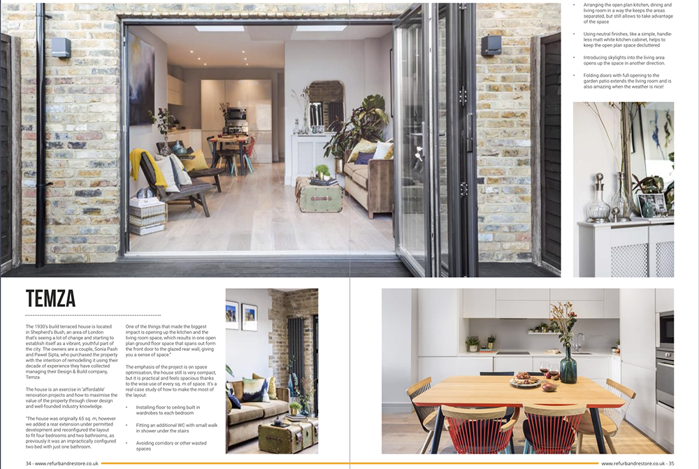 Temza design and build shares their recently completed project in Shepherd's Bush, London. The interior design of the house offered an affordable renovation solution. The studio shares their top interior design tips to maximizing the value of the property through clever design.