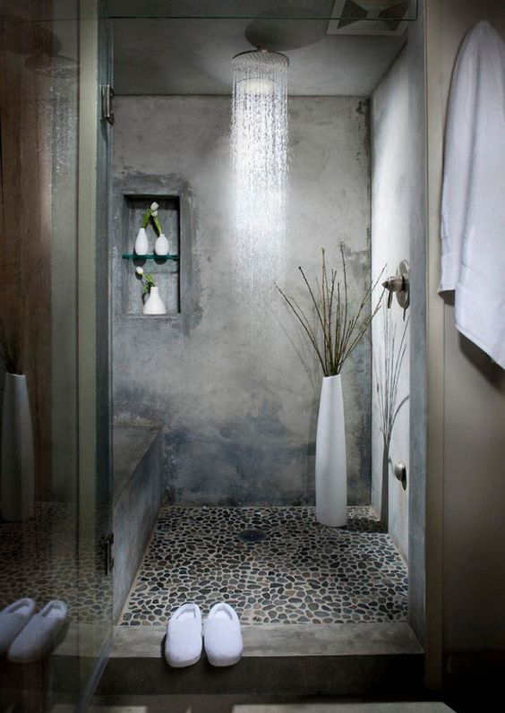 Bathroom interior design with free-standing washstand