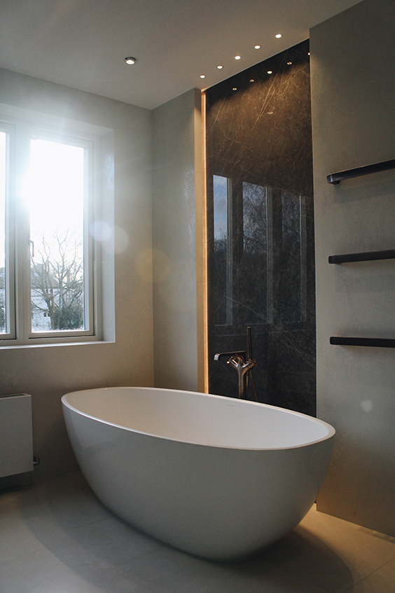 Luxury interior design for bathroom with free-standing bath, Woodside avenue, London
