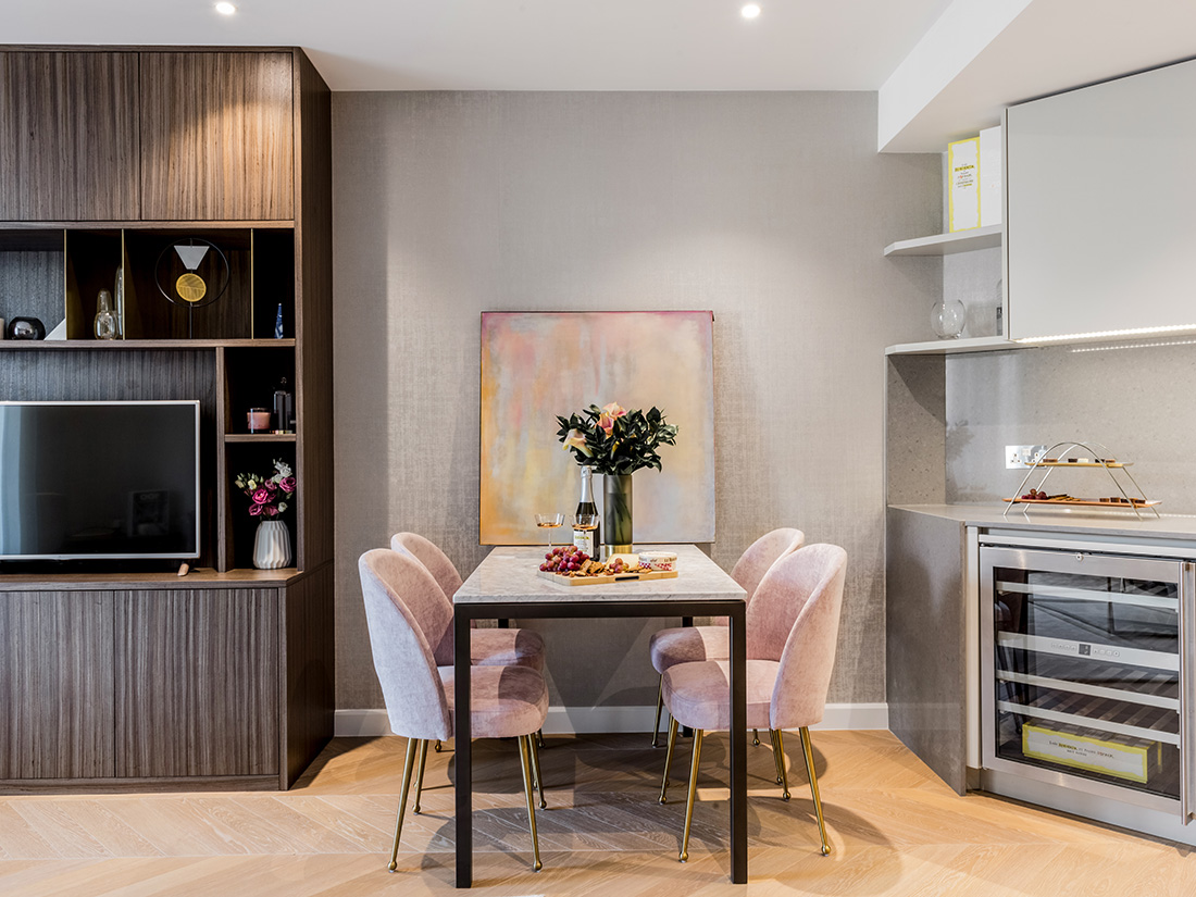 residental interior design for light and spacious kitchen with small dining area in apartment in Westminster, London