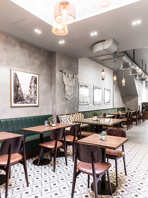 commercial interior design fro a restaurant in Kensington