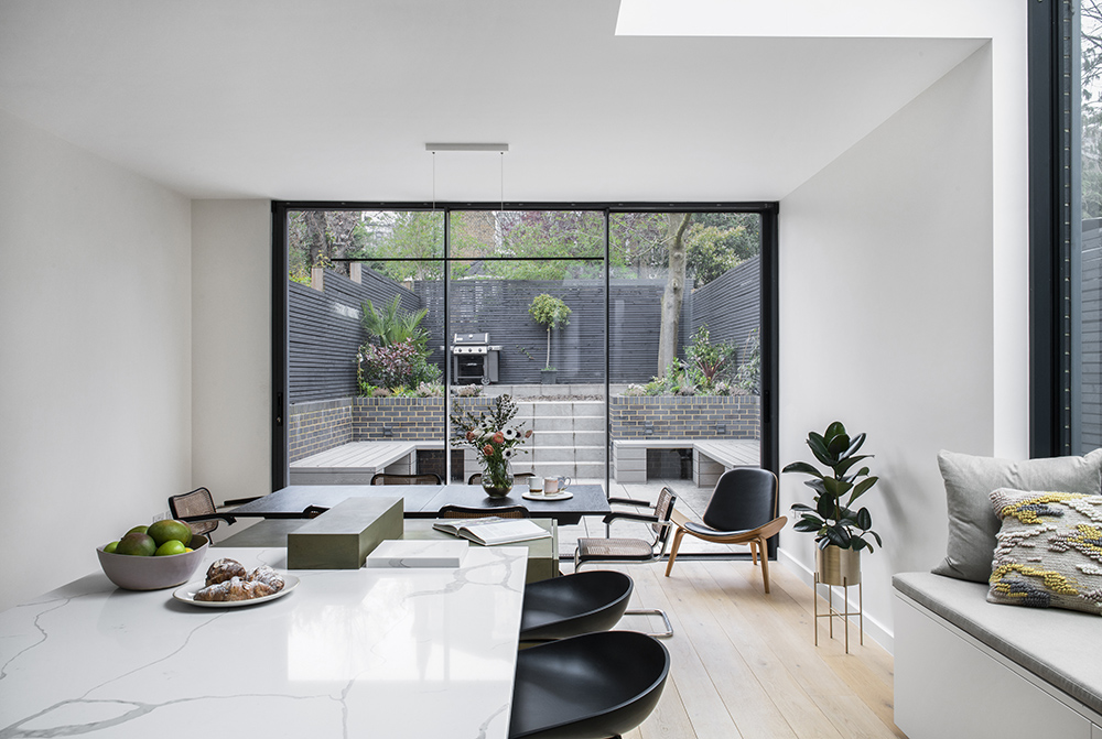 residential interior design for Contemporary modern eclectic open plan kitchen & dining area in Bromley London