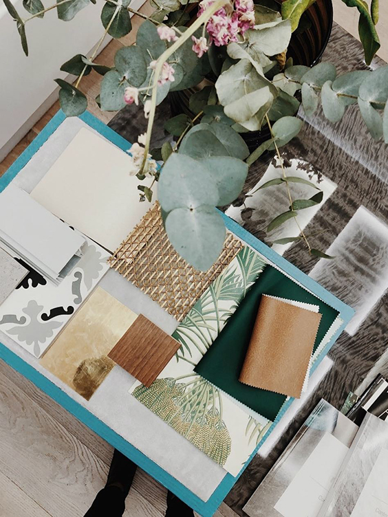 Interior design mood board green and gold, created by TEMZA design and build studio