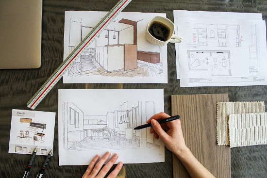 picture of interior design projects during sketching
